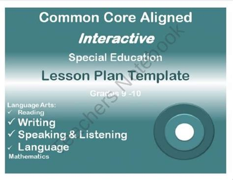 common aligned lesson plan template common aligned interactive special education lesson