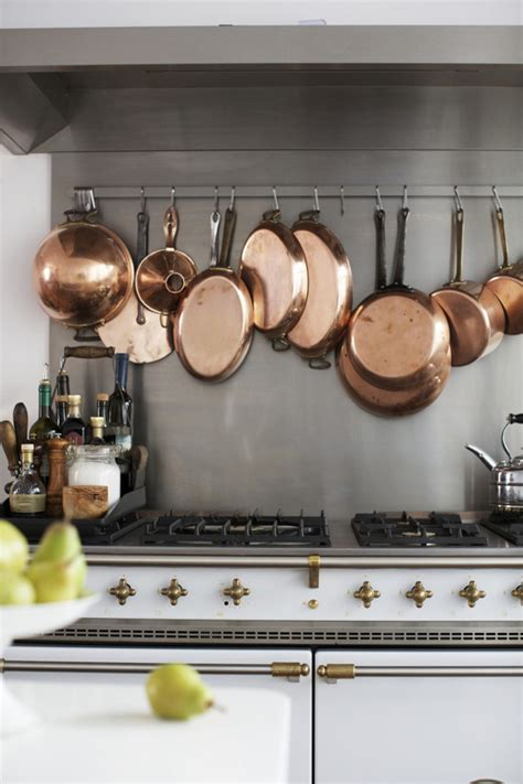 Pot Rack Above Stove 15 Reasons Gold Is For The Home Copper Pots