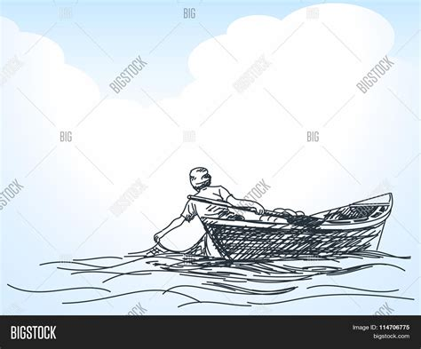 fishing boat sketch sketch of man fishing with net from boat hand drawn