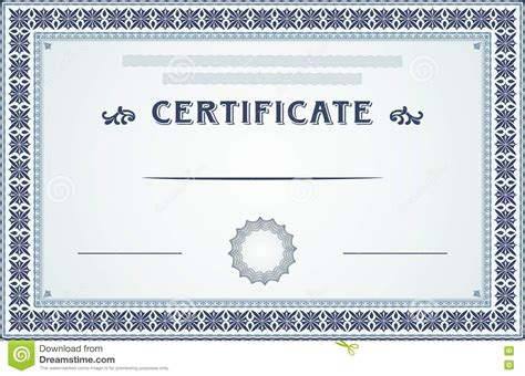 blue certificate template certificate border and template design stock vector