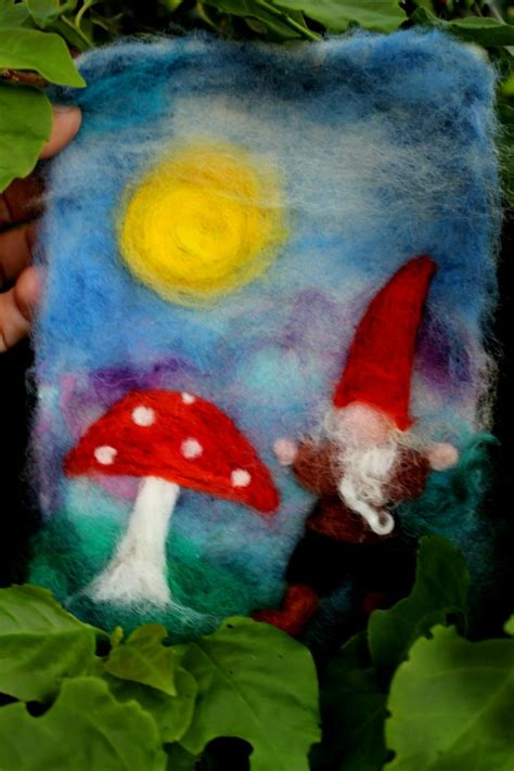 school christmas craft wsldorf school rachels gnome and toadstool needle felted painting needle felted painting tree