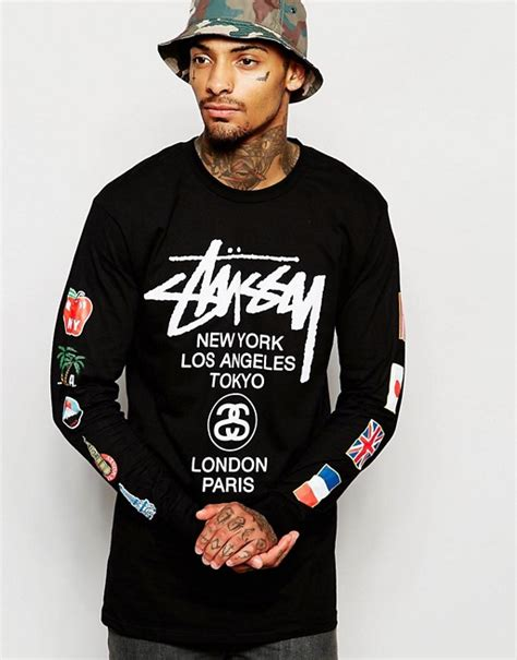 Sleeve T Shirt Stussy stussy stussy sleeve t shirt with flags print