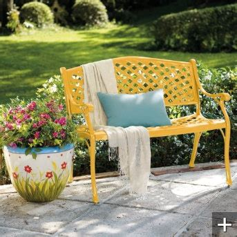 yellow outdoor bench outdoor yellow bench 99 00 home pinterest