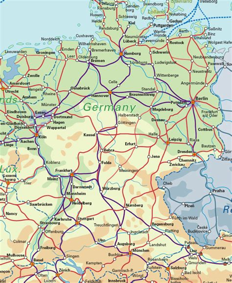 trains germany map german rail map images