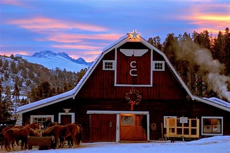 country springs hotel lights coupon winter barn sunset at c lazy u dude ranch com