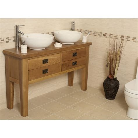 rustic bathroom vanity units valencia double rustic oak bathroom vanity unit best