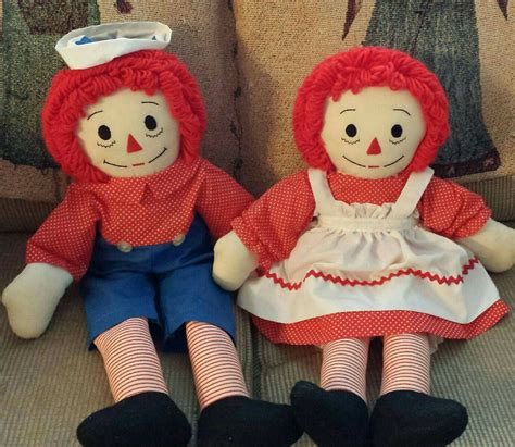 Raggedy Dolls Handmade - vintage handmade raggedy and andy dolls 26 inches