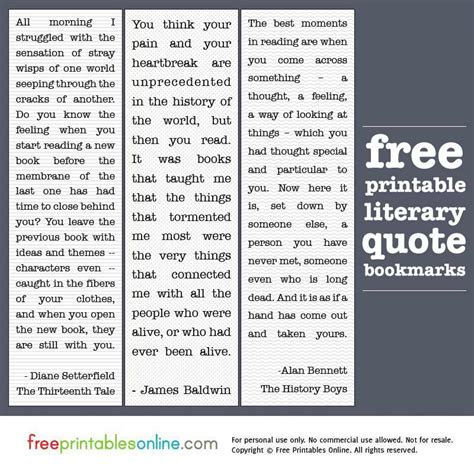 free printable bookmarks with quotes printable literary quotes bookmarks free printables online