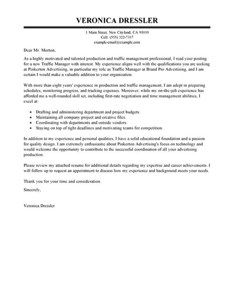 traffic  production manager cover letter examples