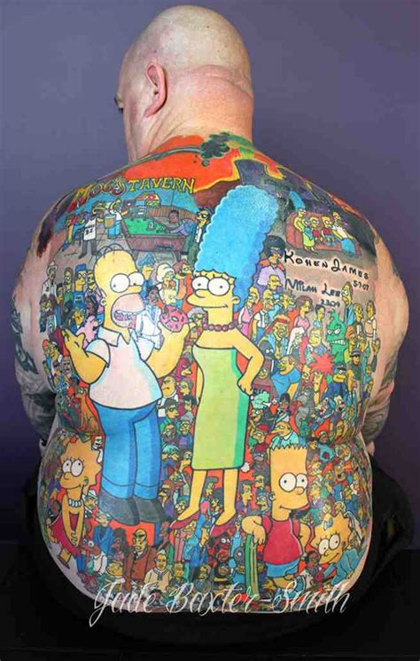 man sets guinness world record for most the simpsons tattoos