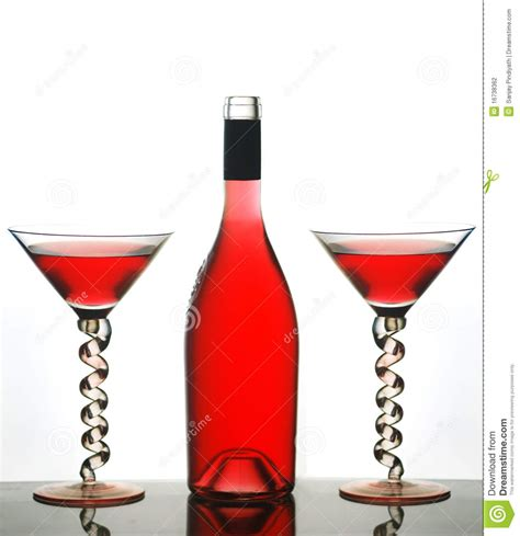 red martini bottle martini glasses and red wine stock photography image
