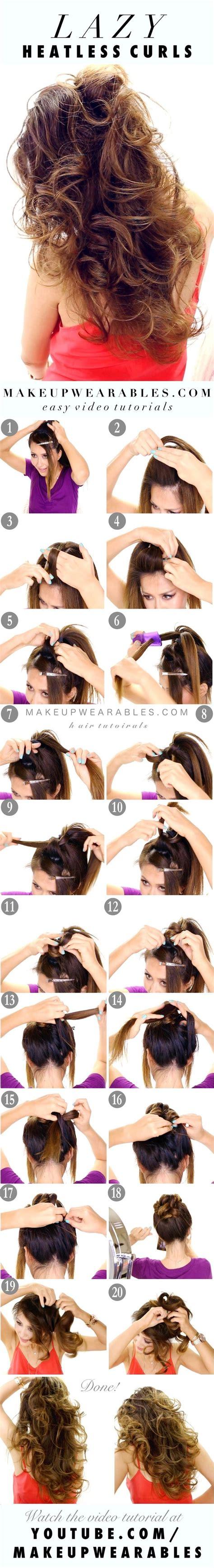 heatless hairstyles tutorials easy lazy heatless curls overnight no heat waves
