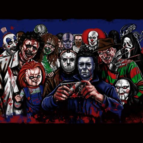 Machine Washable Duvet Horror Villains Selfie Duvet Cover By Eeriette Society6