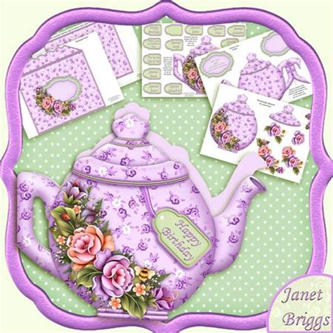 Decoupage Card Kits - teapot shape card lilac florals decoupage card kit
