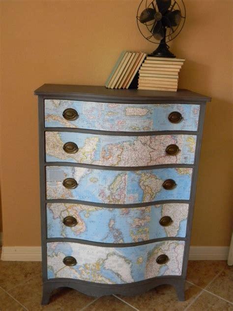 Decoupage Dressers - decoupage maps salvage repurpose