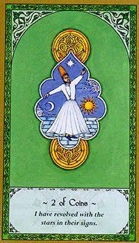 two of coins pentacles nigel jackson s rumi tarot