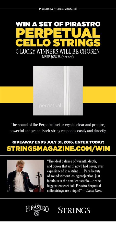 Cello Giveaway - enter to win perpetual cello strings from pirastro strings magazine