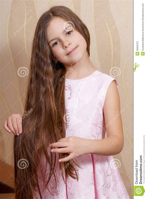 tiny petite little girl with a long hair stock image image 35650721