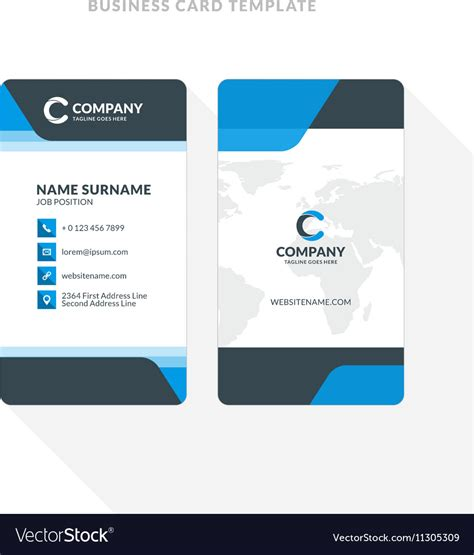 Sided Comp Card Template by Vertical Doublesided Business Card Template Blue Vector By