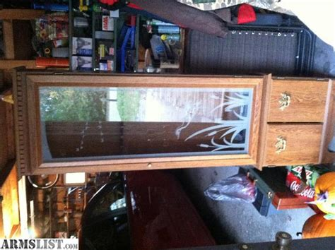 wood gun cabinet with etched glass armslist for sale gun cabinet with etched glass