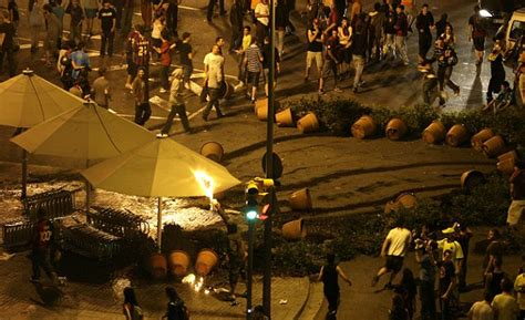 barcelona unrest riots in spain as more than 100 barcelona fans arrested as