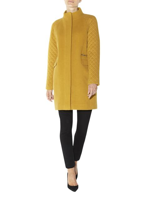 Hobbs Quilted Coat by Hobbs Quilted Coat In Yellow Mustard Lyst