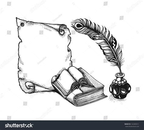 quill sketch book paper scroll feather books sketch style stock vector