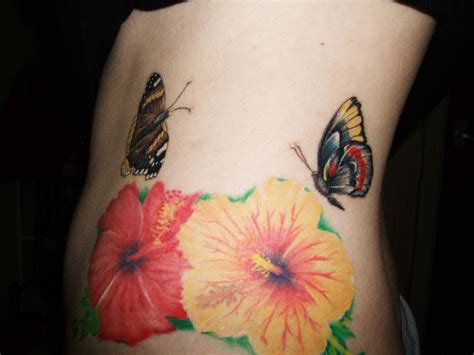 colored flower tattoos colored butterflies and flowers
