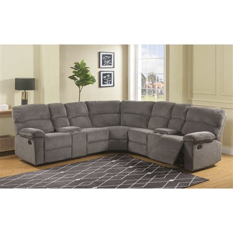 Silver Sectional Sofa by Steve Silver Conan Casual Four Seat Reclining Sectional