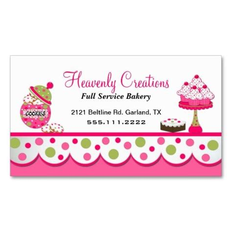 Free Business Cards Templates For Baked Goods by Pink And Green Bakery Business Card Green Click