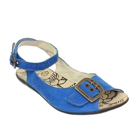 Flat Shoes Blue Ly Shop womens fly mot blue leather flat ankle sandals size 3 8 ebay