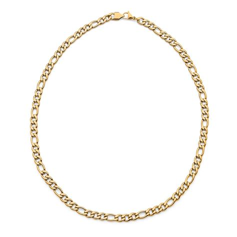 Necklace In 14k P 183 s 14k yellow gold layered stainless steel figaro chain