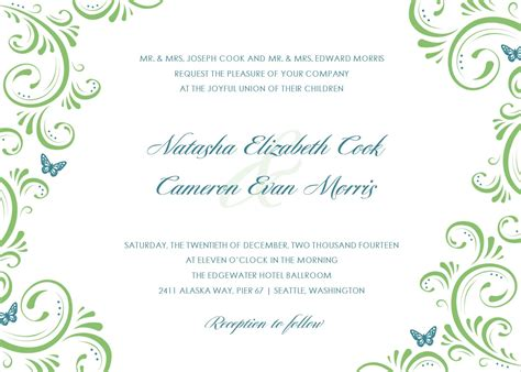 plain wedding invitation templates free wedding invitation template with simple green floral