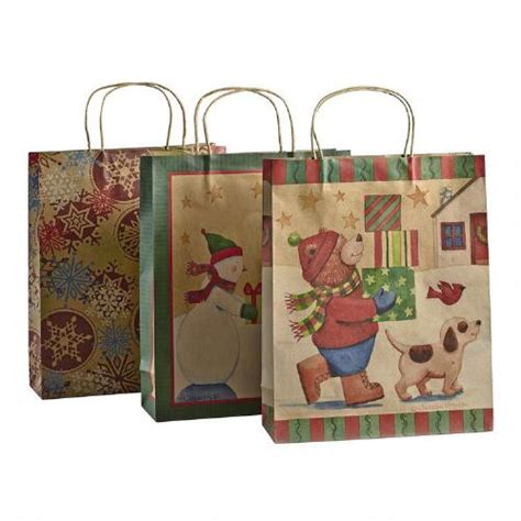 medium holiday kraft paper gift bags 3 count christmas