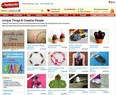Handmade Websites - dawanda 7 websites to sell handmade goods on diy