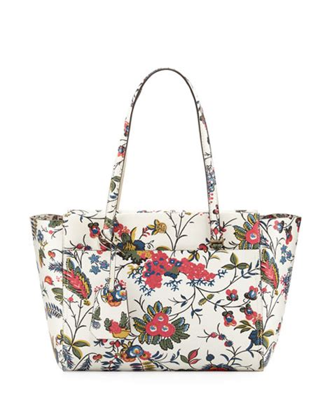 Bag Import Ready White G12 burch small floral print tote bag neiman
