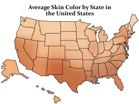 skin color map average skin color by state in the united states