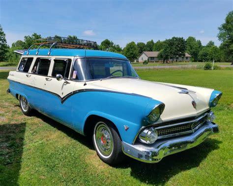 blue station wagon 1955 ford four door country sedan station wagon