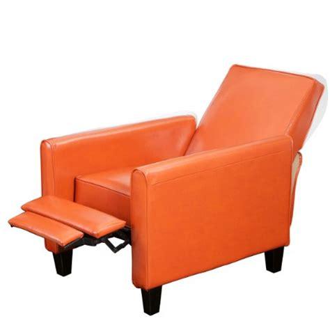 orange leather recliner best selling davis leather recliner club chair orange