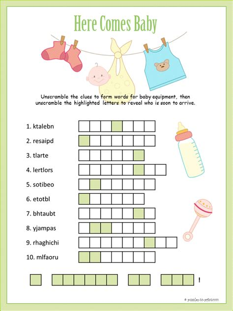 Other Words For Baby Shower by Printable Baby Shower Word Scramble Baby Shower