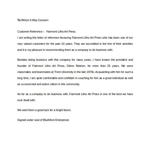 Business Reference Letter For Client business reference letter 11 free documents in