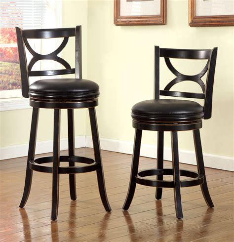 25 Inch Swivel Bar Stools by Furniture Of America Antique Black Komi Low 25 Inch Swivel