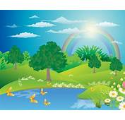 Landscape With A Rainbow Free Vector In Adobe Illustrator