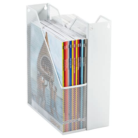 white mesh magazine file the container store