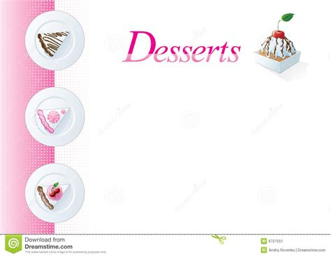dessert menu template stock vector image of sponge