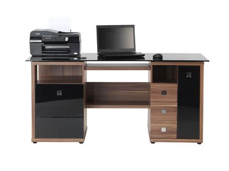 saratoga walnut effect executive computer desk desk alphason saratoga walnut black glass computer desk aw14004
