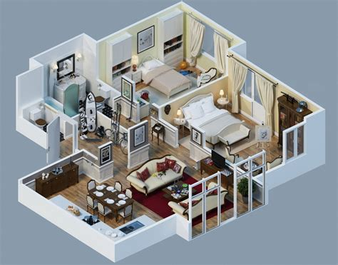 3d house plans apartment designs shown with rendered 3d floor plans