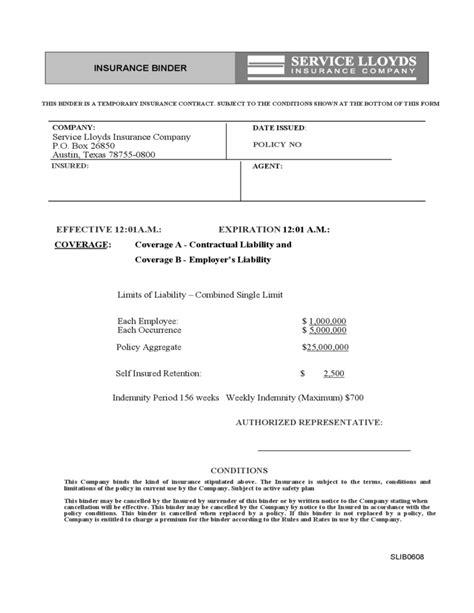 Insurance Binder Letter Insurance Binder Sle Free