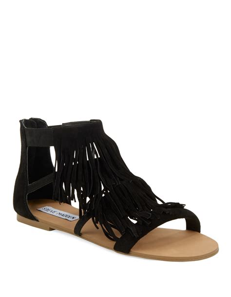 black fringe sandals steve madden leather fringe sandal in black black suede