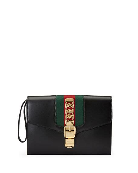 Florence Fred Black Buckle Clutch Bag by Gucci Sylvie Small Wristlet Clutch Bag Neiman